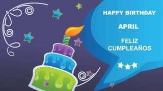 April - Card Tarjeta - Happy Birthday