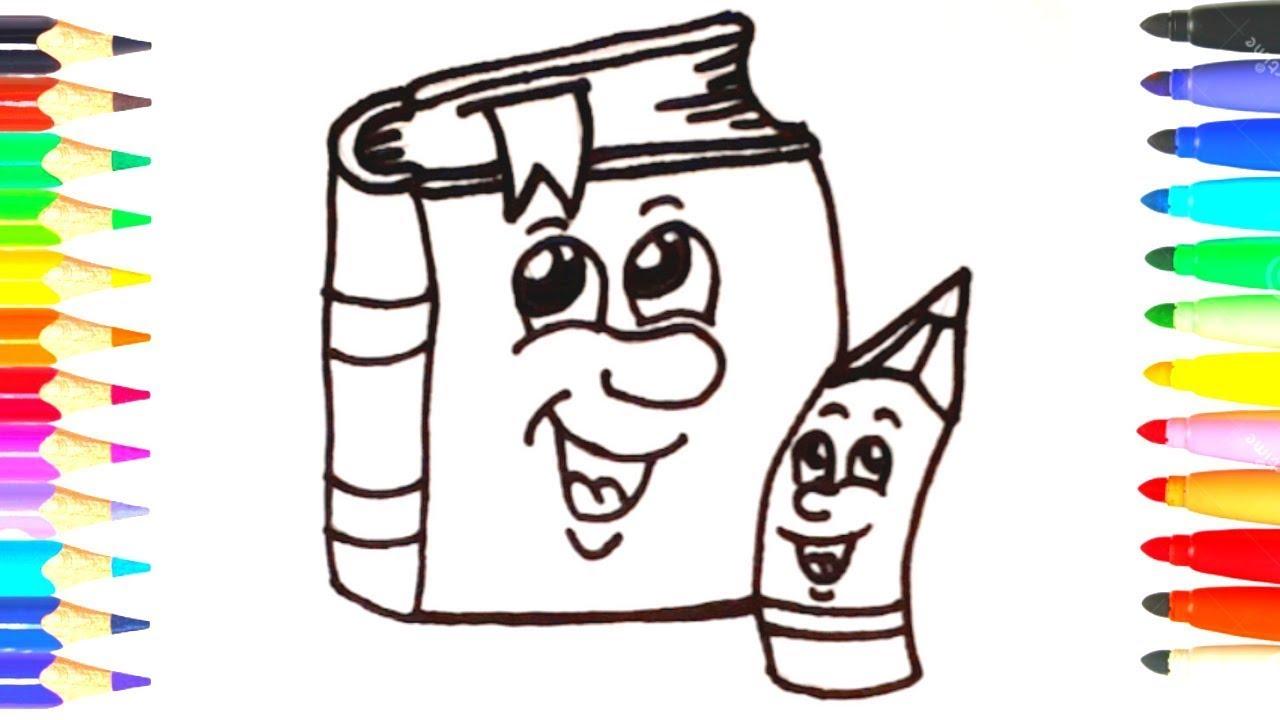 كيف ترسم وتلون أدوات مدرسية بسهولة خطوة بخطوة رسم وتلوين للأطفال تعلم الرسم Youtube