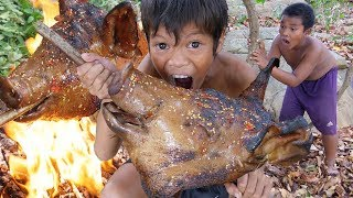 Cooking pig head Recipe And Eating