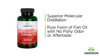 Give your heart, brain and joint health a boost with swanson high concentrate omega-3 fish oil. our molecularly distilled oil is derived from quali...