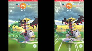 Dragon breath/Shadow sneak Giratina duo (no weather boost, with best friends)