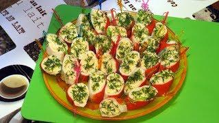 мини рулеты с крабовыми палочками и сыром - рецепты закусок