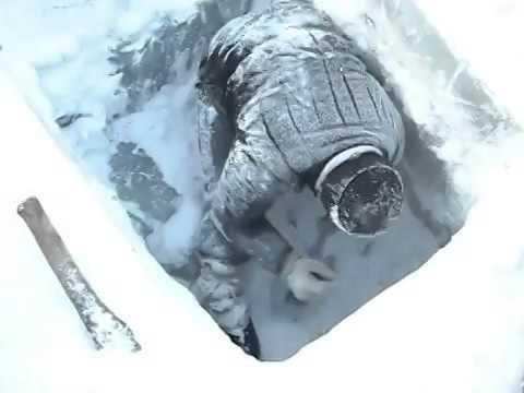 Ice fishing in Russia LOL