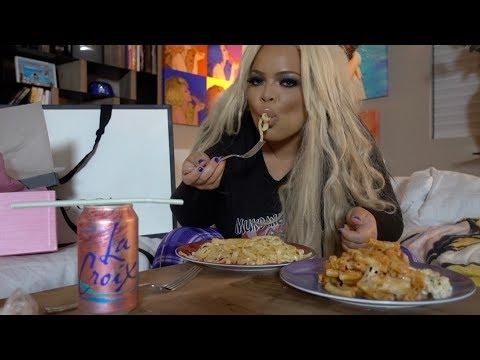 EATING PASTA FOR BREAKFAST MUKBANG! | BUCA DI BEPPO EATING SHOW (FETTUCCINE ALFREDO, BAKED ZITI)