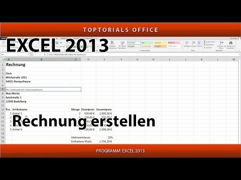 Rechnung Erstellen Quittung Erstellen Inkl Mwst Excel Toptorials