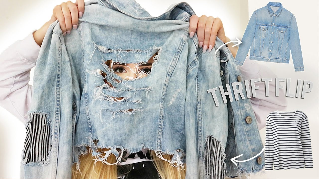 DENIM JACKET THRIFT FLIP.. transforming thrifted clothes!! Ep#2 6