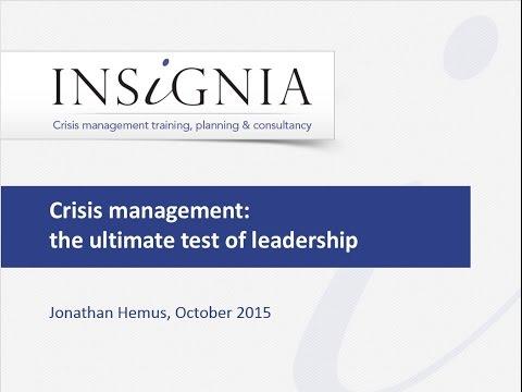 WEBINAR - CRISIS MANAGEMENT: THE ACID TEST OF LEADERSHIP
