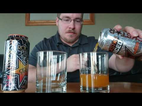 Rockstar Juiced Tropical Passion Fruit vs Total Zero Mango Orange Energy Drink Review Taste Test
