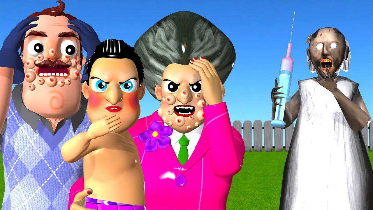Miss T vs Hello Neighbor Scary Acne Face - Scary Teacher 3D Siren Head vs Granny Needle Troll