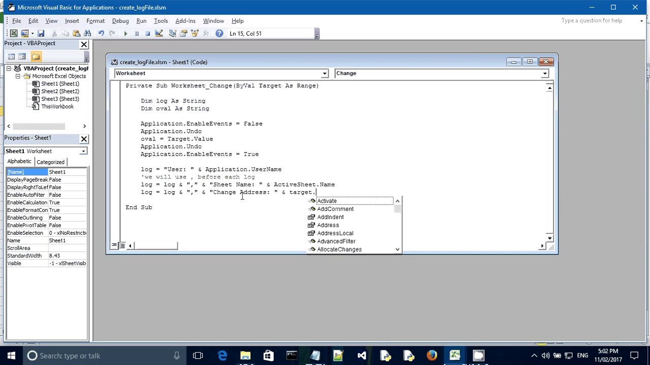Excel Vb Rec D Ch Nges M De To Excel Sheet Youtube