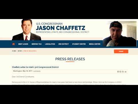 Utah Rep. Jason Chaffetz Posts Resignation Letter, Announces Early Departure