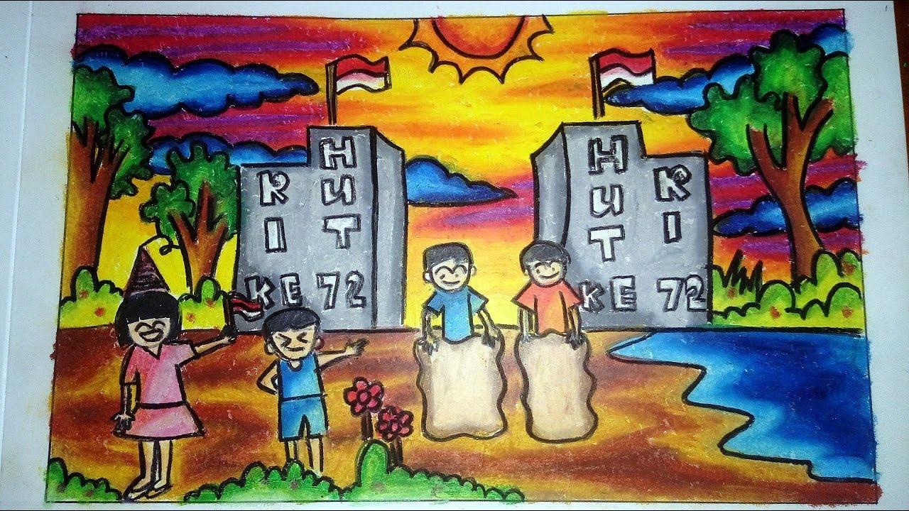Cara Mewarnai Gambar Dengan Crayon HUT RI 17 Agustus