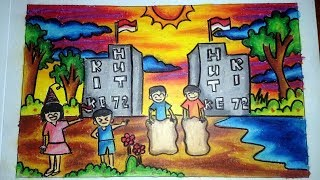 Cara Mewarnai Gambar Dengan Crayon Hut Ri 17 Agustus How To Color With Oil Pastels Youtube