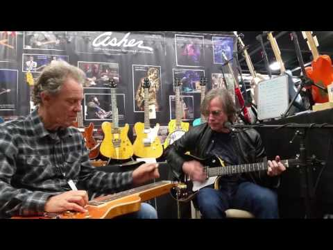 Jackson Browne and Greg Leisz at the Asher booth NAMM 2017 -