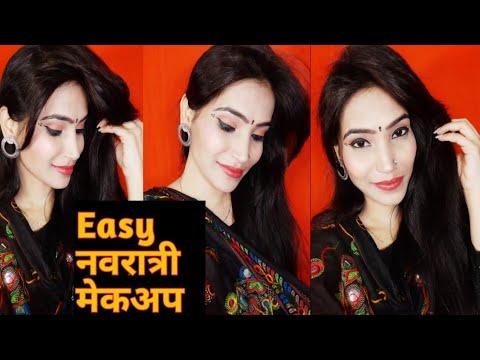 Long lasting Easy Traditional Navratri makeup 2019// #Navratri Easy makeup for All - 동영상
