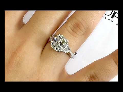3 Carat Cushion Cut Diamond Engagement Ring In 3 Stone
