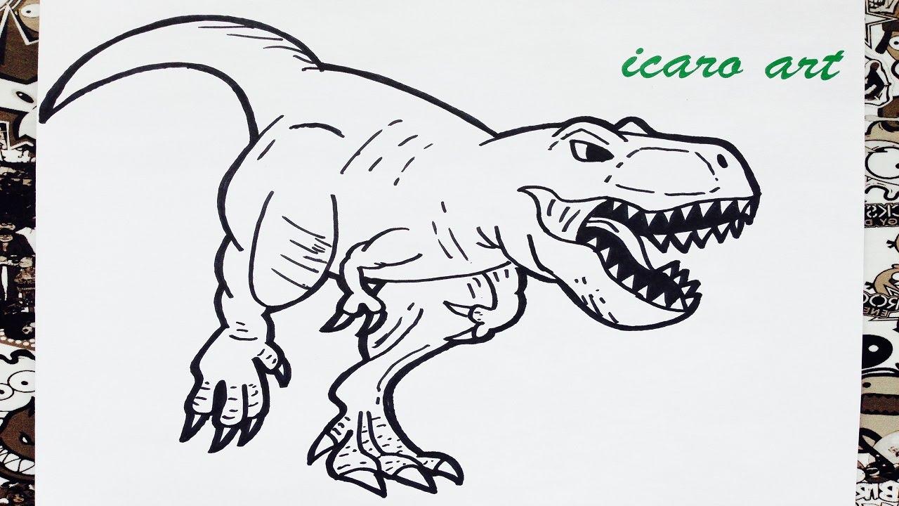 Como dibujar al tiranosaurio rex | how to draw tyrannosaurus rex ...