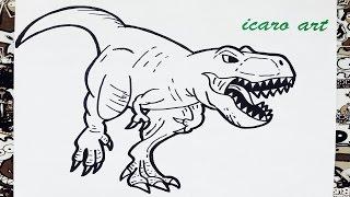 Como dibujar al tiranosaurio rex | how to draw tyrannosaurus rex