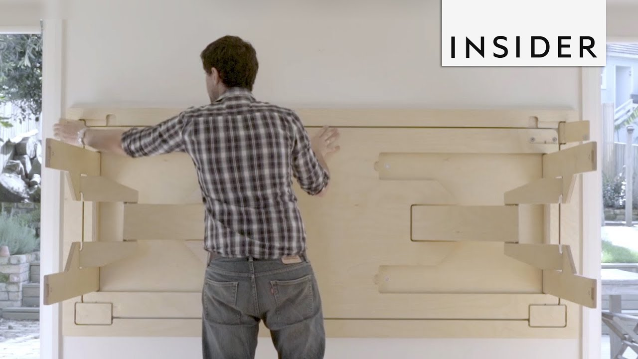 Table Folds Into Wall To Save Space Youtube