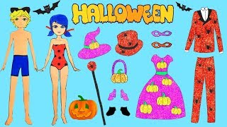 Family Dress Up Ladybug Andamp Cat Noir Paper Dolls Costumes For Halloween Party Papercrafts