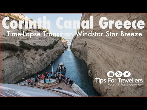 Corinth Canal Greece Cruise Ship Transit Time-Lapse, where the ship just fits in it. Thrilling!