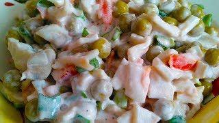 Быстрый и вкусный салат из простых продуктов за 5 минут. Все покрошили и готово!!!