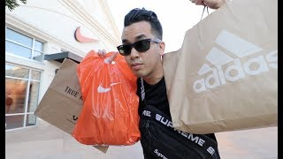 LABOR DAY OUTLET SHOPPING VLOG HAUL NIKE   ADIDAS   GUCCI   TRUE RELIGION