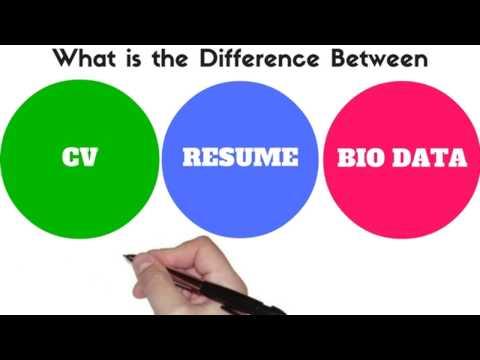 Difference Between CV, Resume, Bio Data - YouTube
