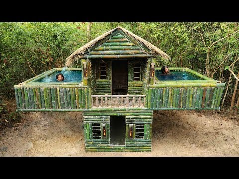 Building The Most Beautiful Twin Bamboo Swimming Pool On The Biggest Villa By Ancient Skill
