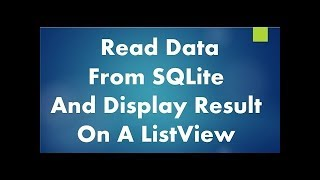 #3 Display custom ListView from SQLite Database in Android Studio Tutorial