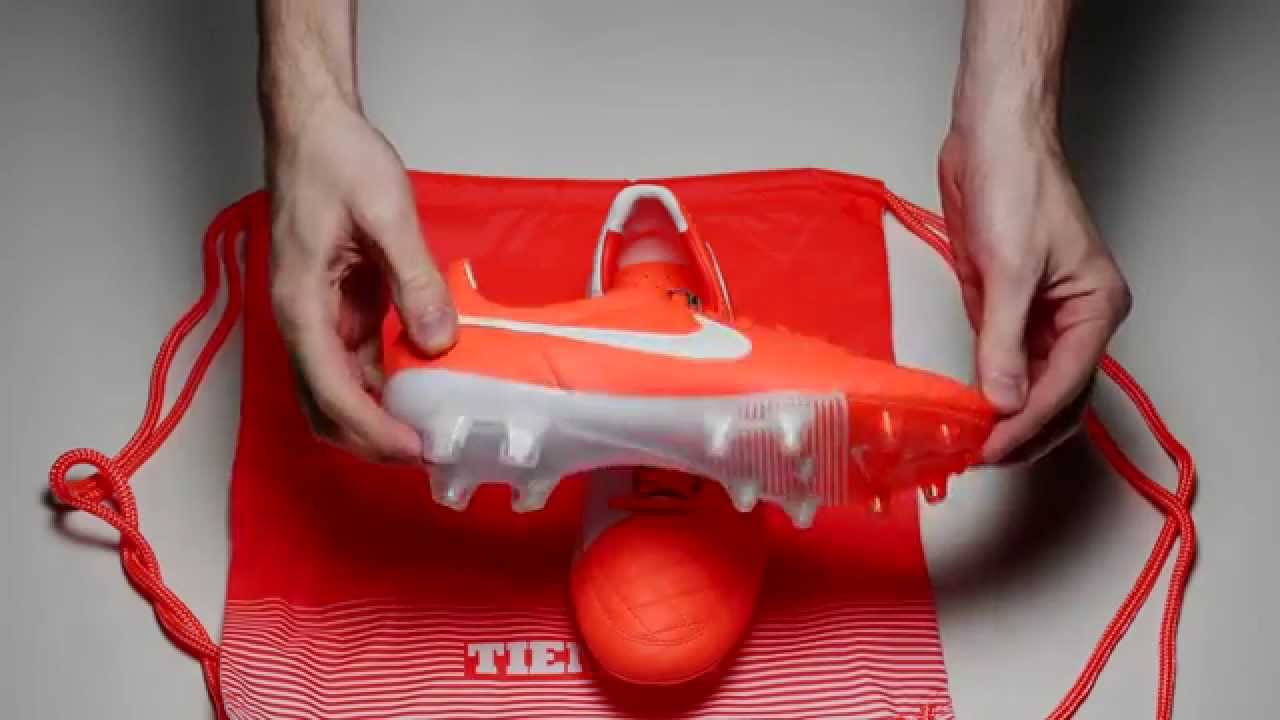 Nike Tiempo Legend V FG Soccer Cleats - Total Crimson and White - YouTube