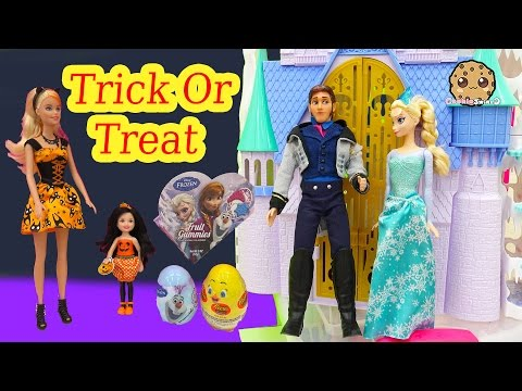 Barbie Dolls Trick Or Treat Video with Disney Frozen Queen Elsa, Prince Hans - Cookieswirlc
