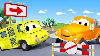 Автобус Лили застряла на ухабах - Эвакуатор Том в Автомобильный Город  🚗 детский мультфильм