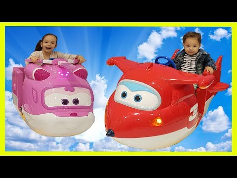 Riding a Super Wings Funny Kids Amusement Super Jet and Dizz