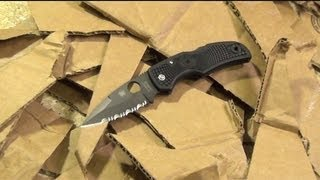 Spyderco Native Review, Cardboard Cutting