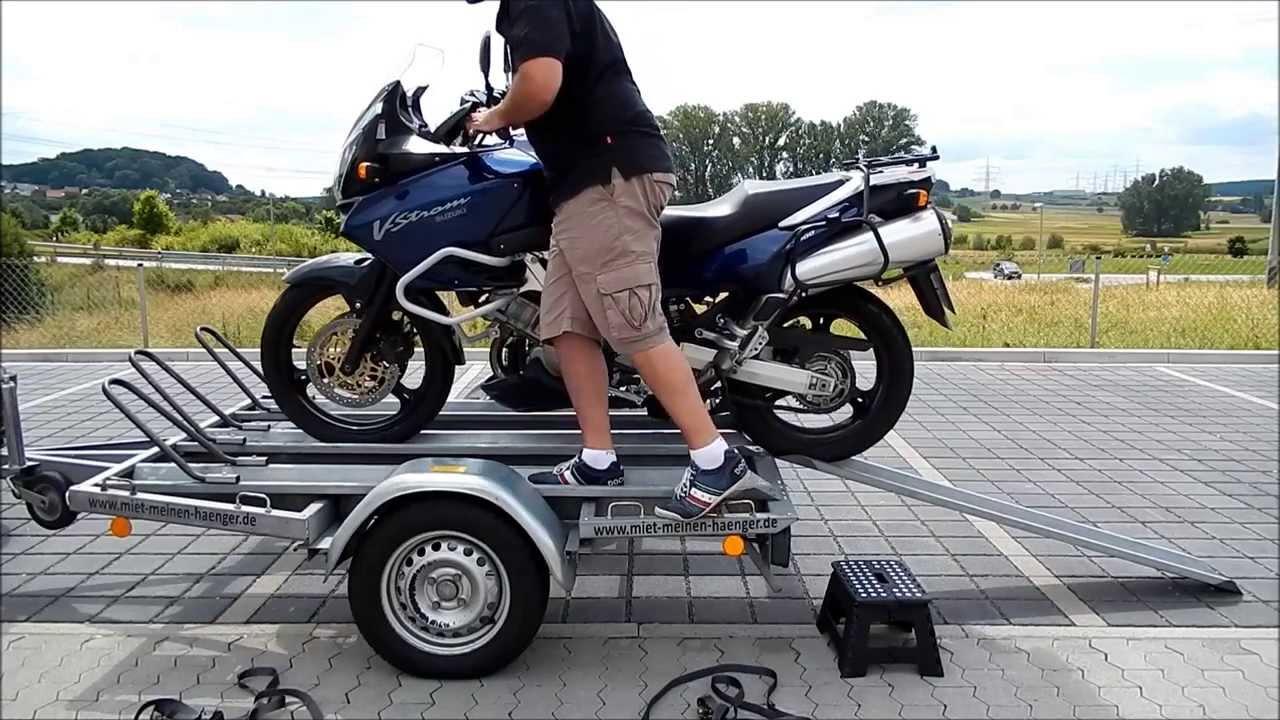 anleitung motorrad richtig auf motorradanh nger verladen