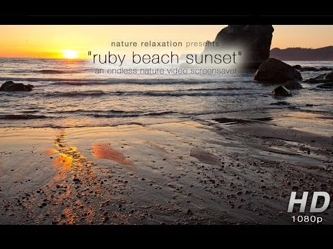 """""""Ruby Beach Coastal Sunset"""" Unlimited Length HD Nature Video Screensaver Stereo Sounds 1080p"""
