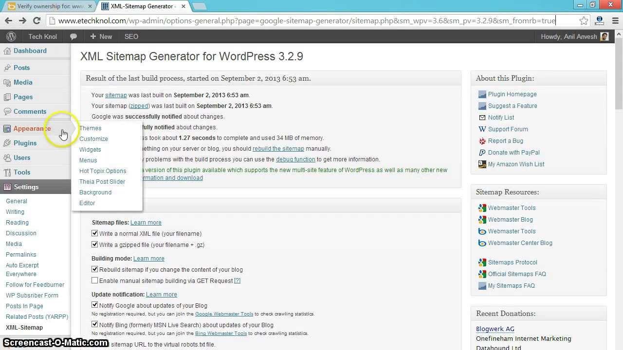 submit wordpress xml sitemap to bing yahoo youtube