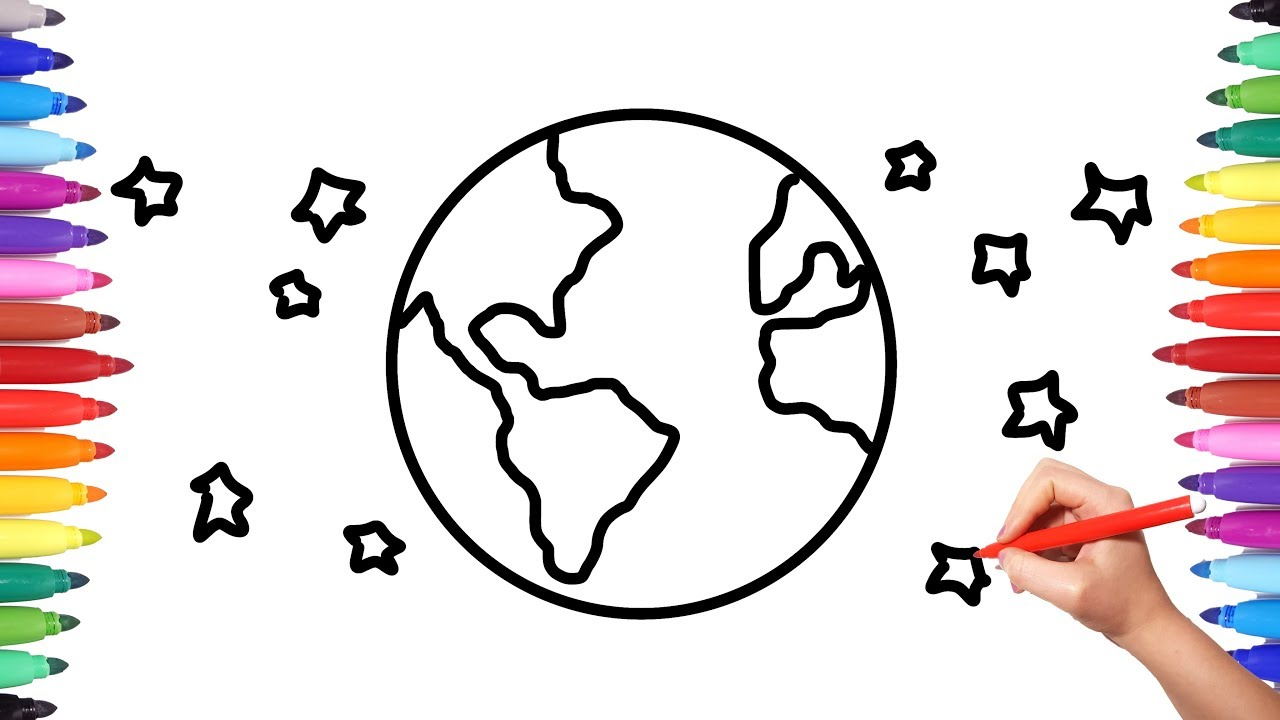 How to Draw the Earth Planet Coloring Videos for Kids | Animation Drawing Videos for Kids