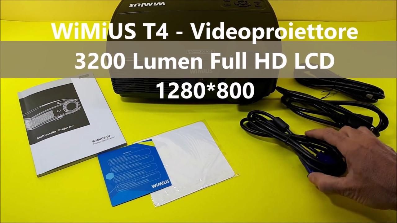 Wimius T4 Videoproiettore 3200 Lumen Full Hd Lcd 1280 800 Per Home