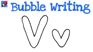 How to Draw Bubble Writing Real Easy - Letter V