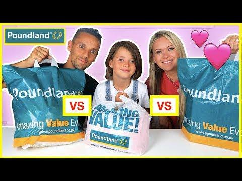 FAMILY £5 POUNDLAND SHOPPING CHALLENGE 🤑 EPIC POUNDLAND HAUL 🤑 KID vs MUM vs DAD