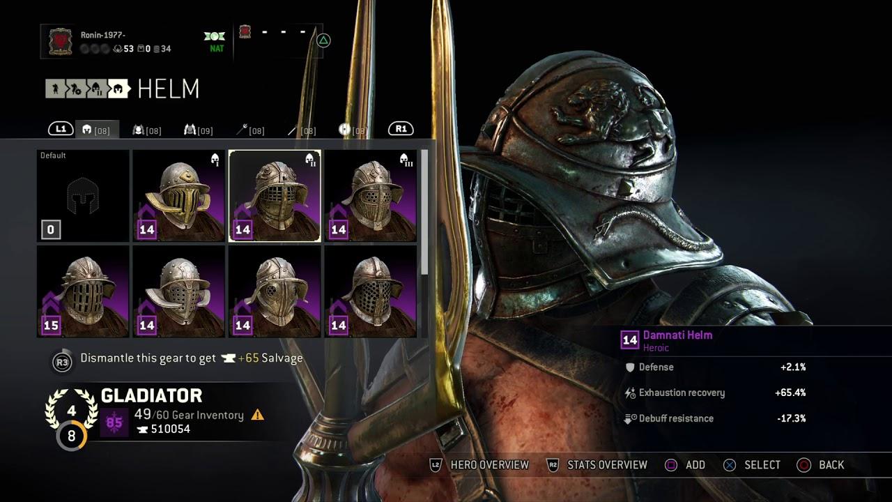 for honor gladiator 3 heroic armor sets exsuperatorius damnati rex