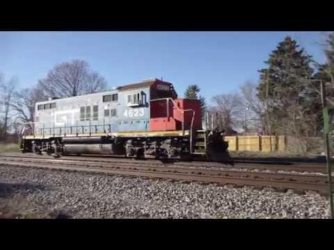 Grand Trunk Western GP9R GTW 4623 blowing air horn or air chimes