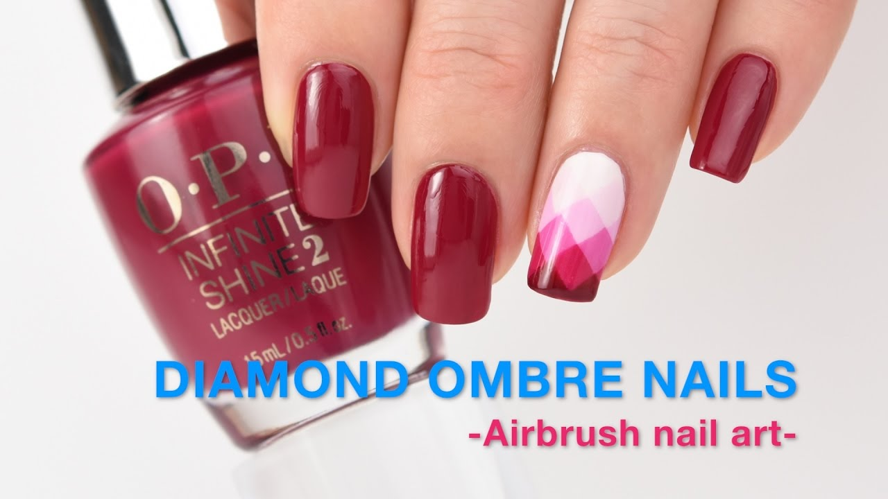 Diamond Ombre Nails Airbrush Nail Art Youtube