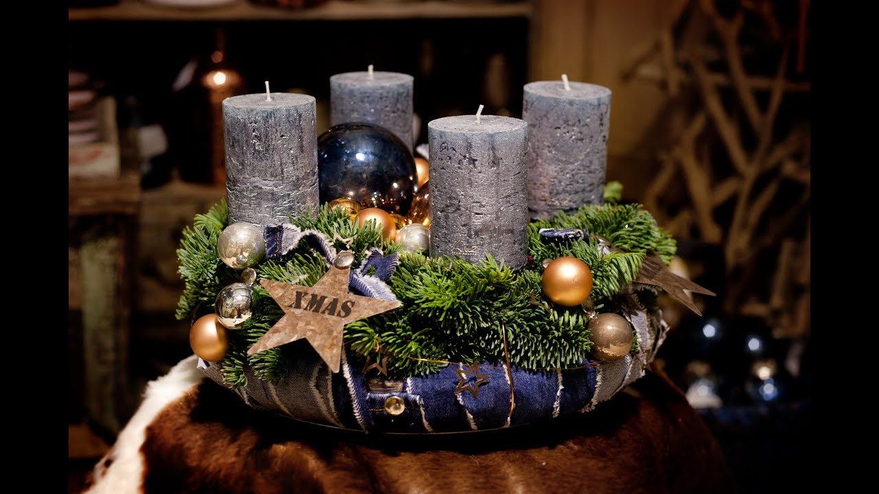 trendigen adventskranz mit jeans by m schouten youtube. Black Bedroom Furniture Sets. Home Design Ideas