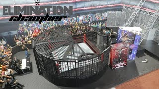WWE Figure Raw Main Event Ring + Elimination Chamber Real Scale Playset Set-up & Review