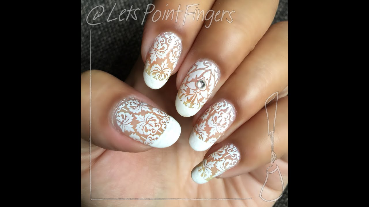 White Lace Nail Stamping Design - YouTube