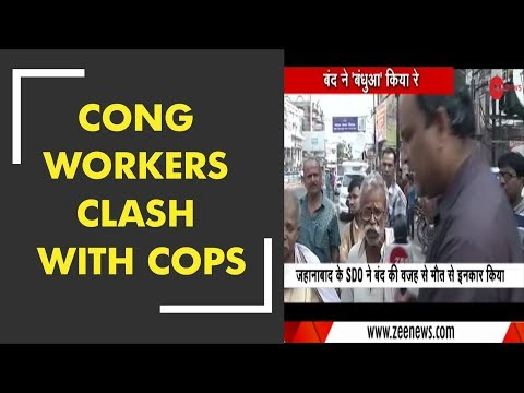 Congress workers clash with cops in Ujjain during Bharat Bandh