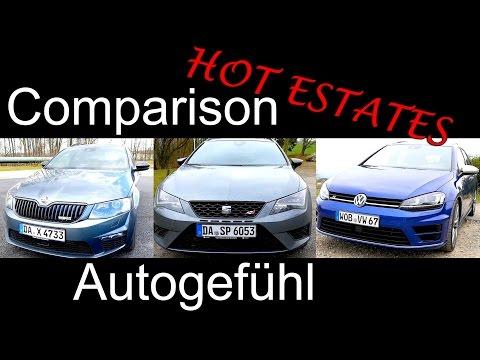 Hot Estate comparison test Volkswagen VW Golf R Variant vs Seat Leon ST Cupra vs Skoda Octavia RS